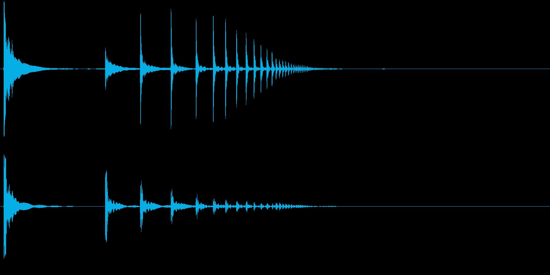 小物体の落下音の再生済みの波形