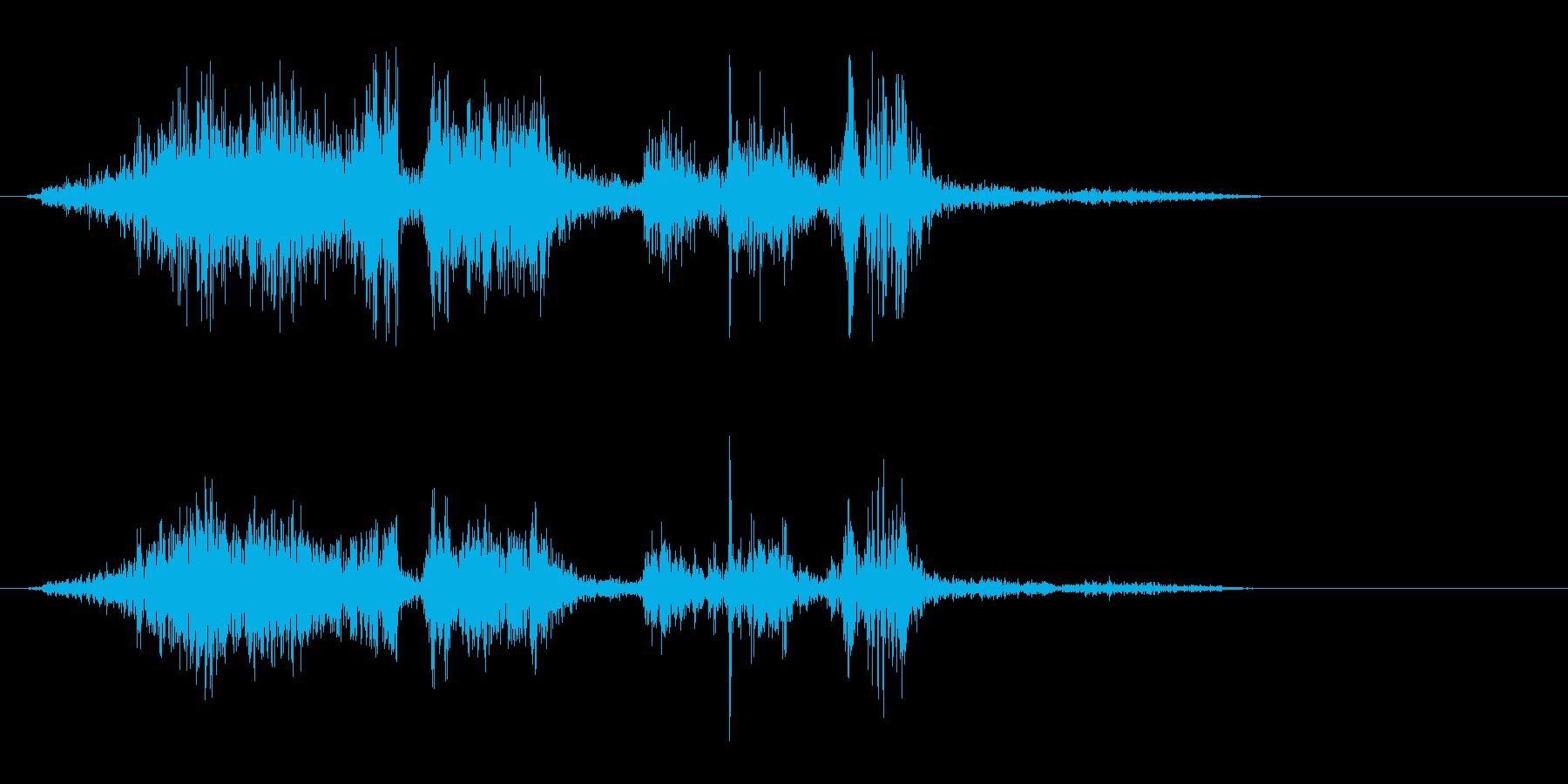 しっかりと紙をめくる効果音の再生済みの波形