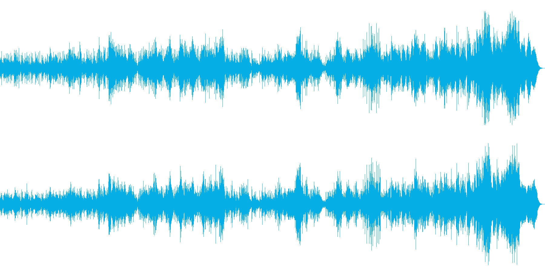 中低域が暖かい音質のフュージョン曲の再生済みの波形