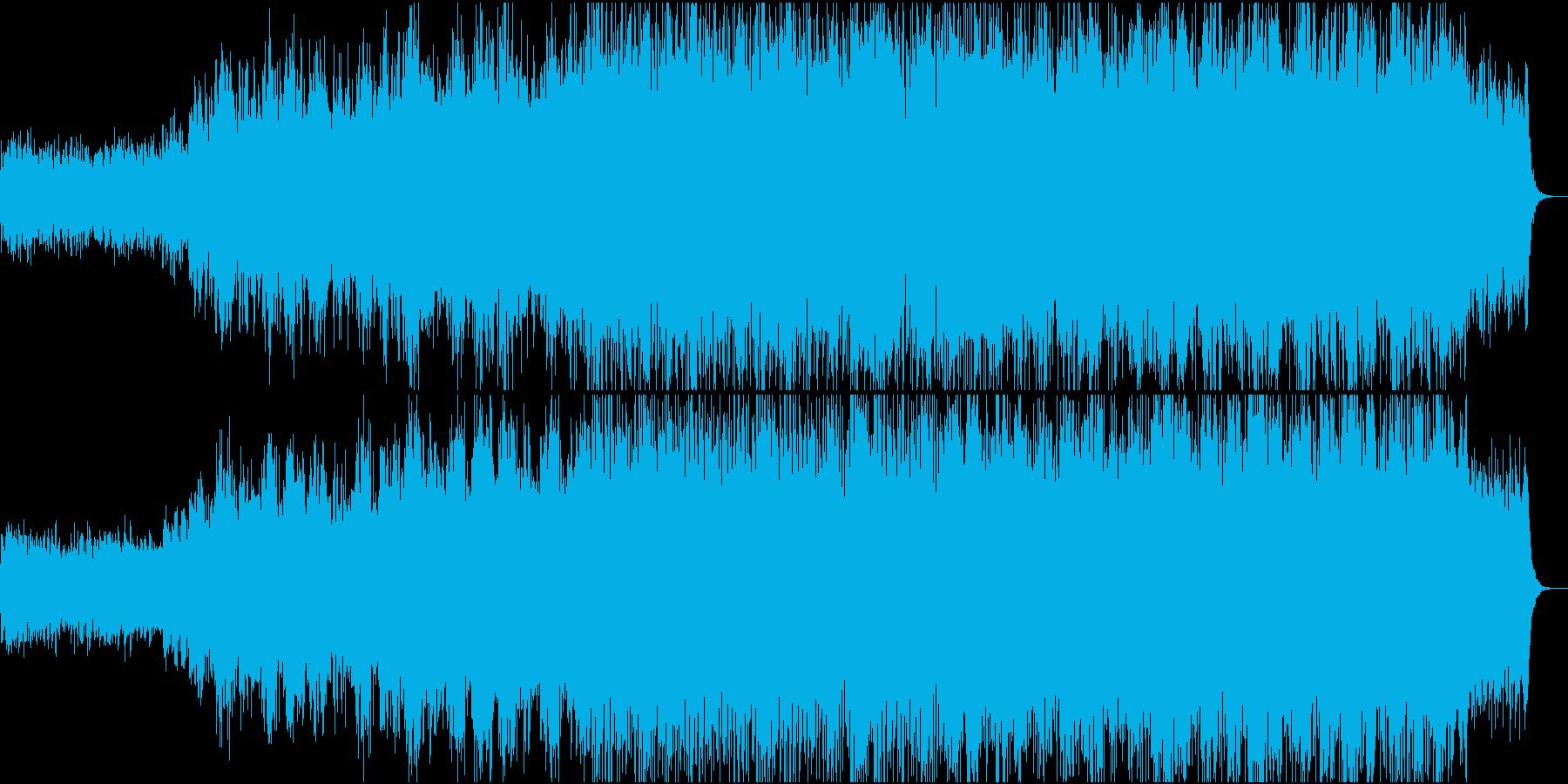 壮大なオープニング映像、合唱コーラスの再生済みの波形