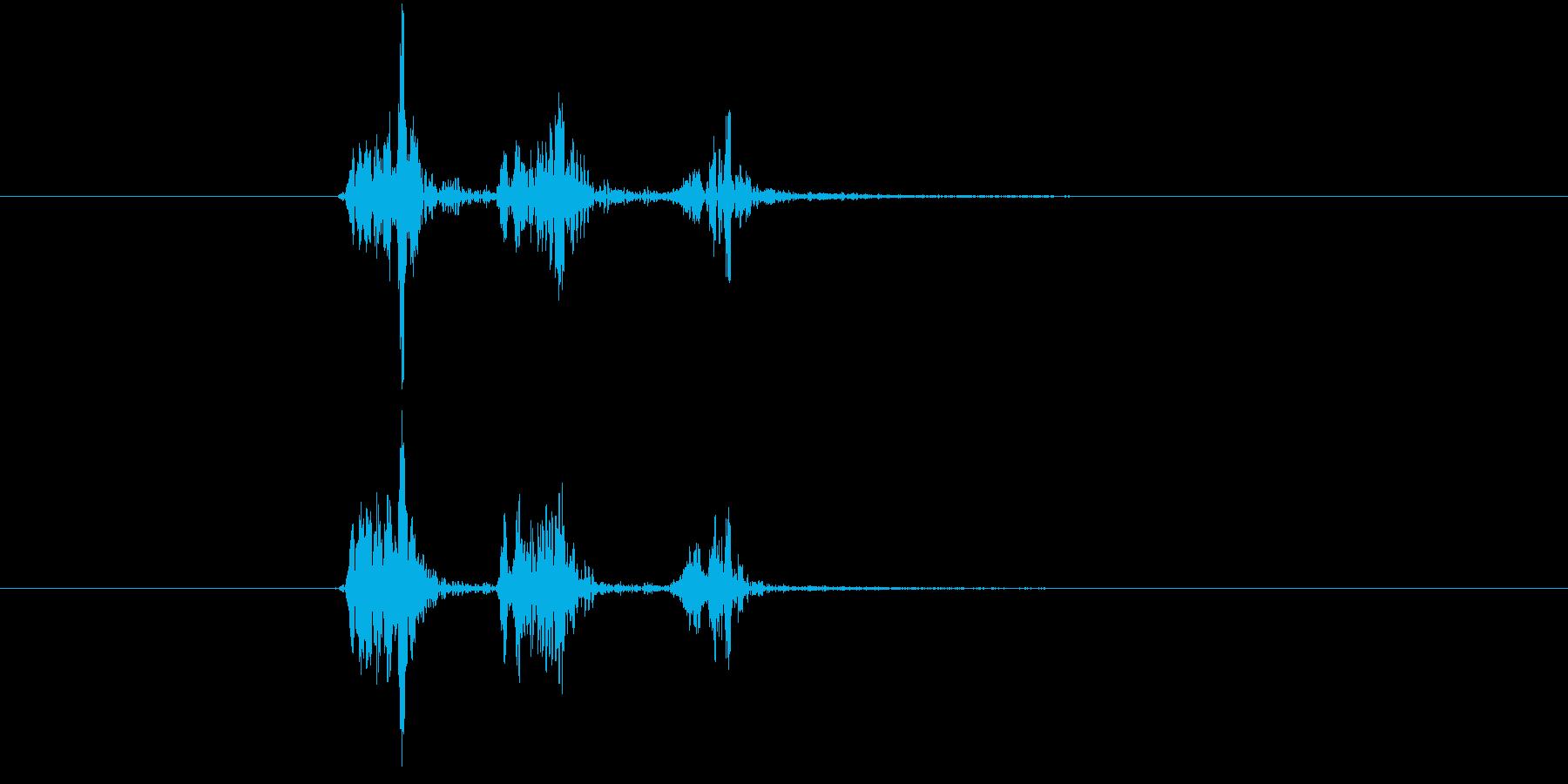鞭や縄などの風切り音の再生済みの波形