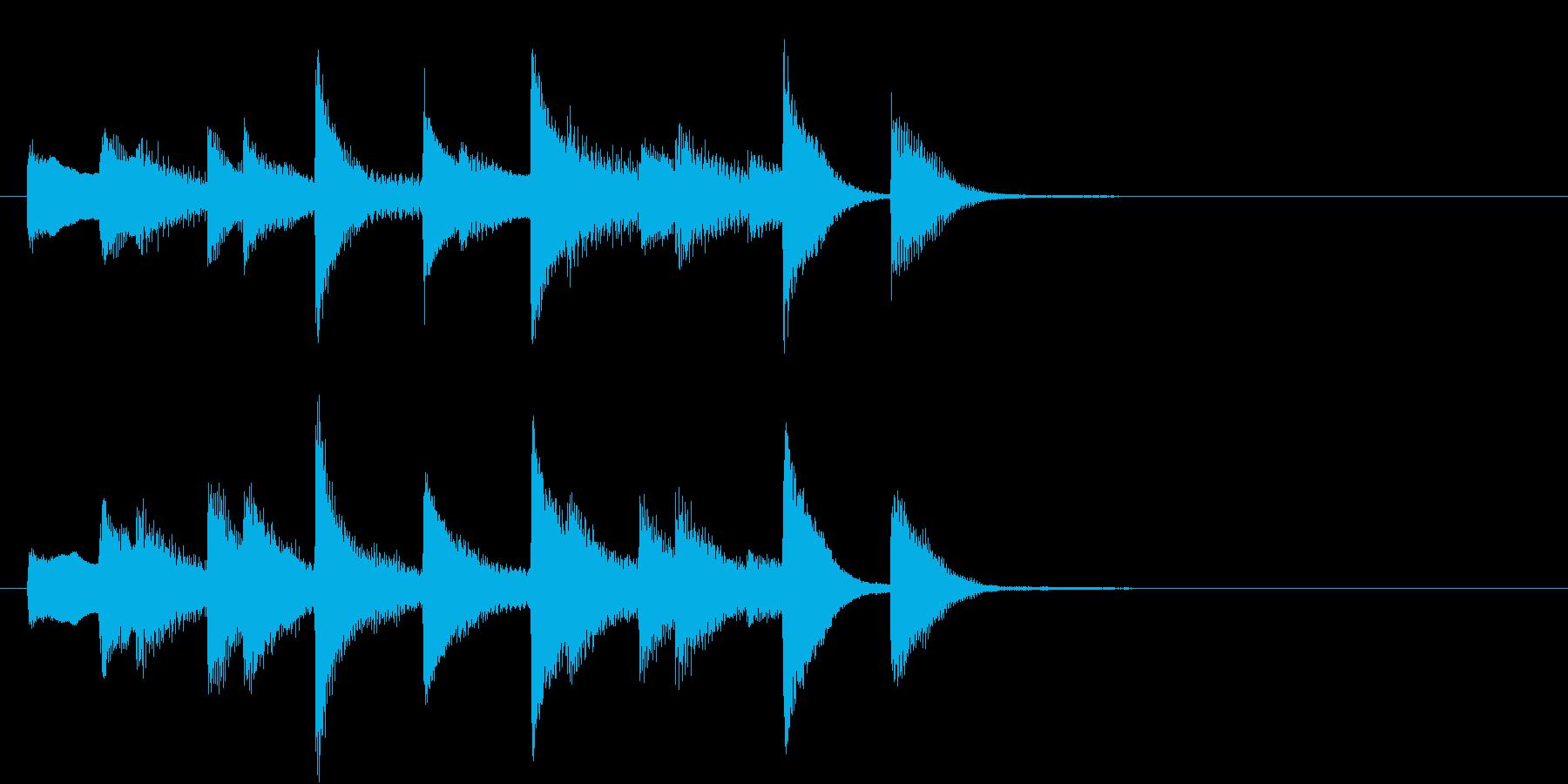 軽やかなピアノのジングルの再生済みの波形