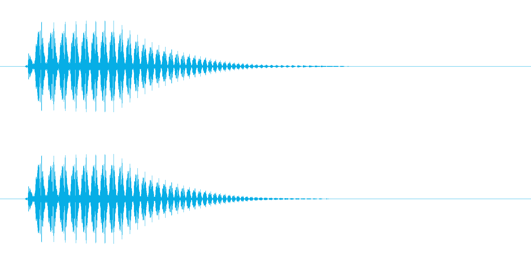短く豚が鳴いているような音の再生済みの波形