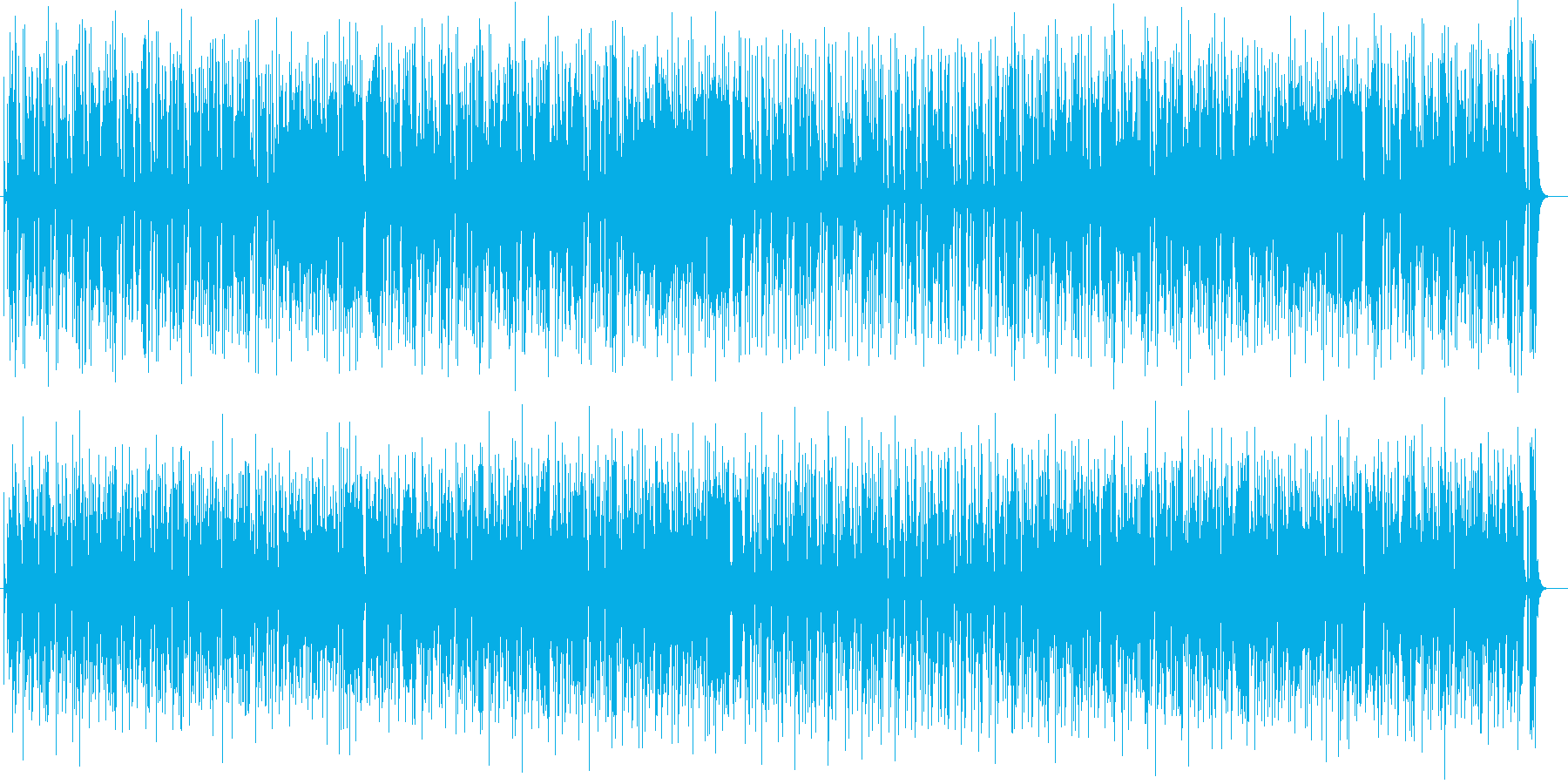 ポップでリズミカルなシンセサイザー楽曲の再生済みの波形