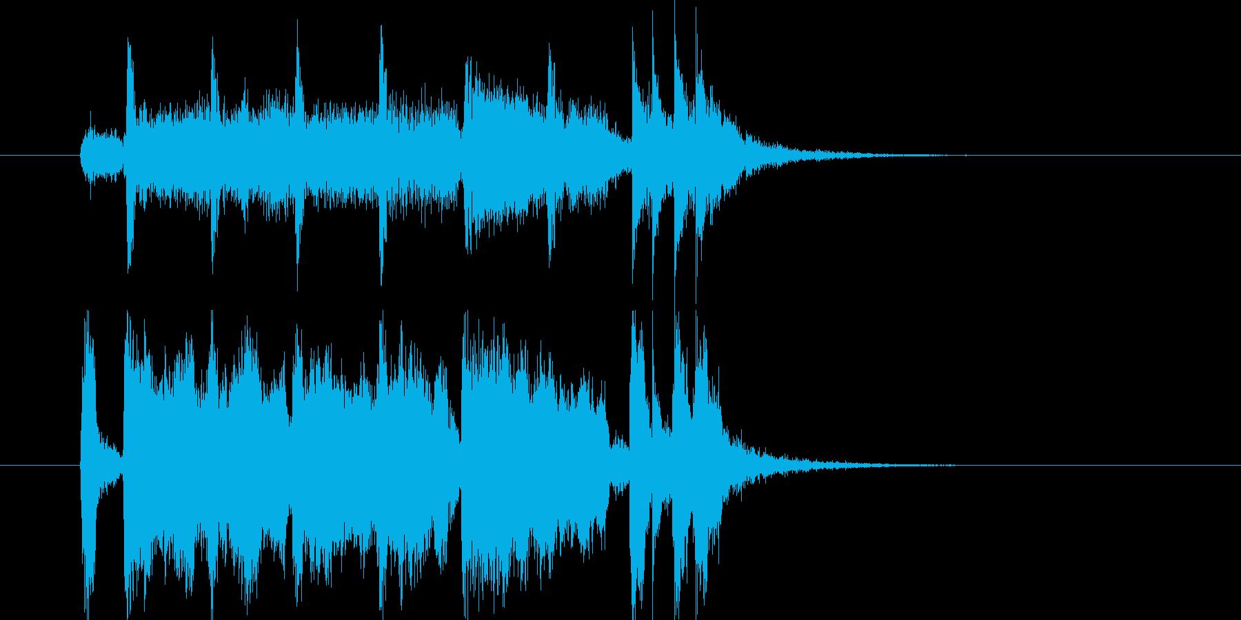 軽快なトランペットとドラムによるBGMの再生済みの波形