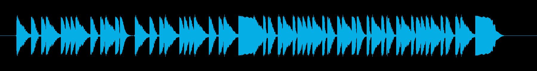 ドラムがコミカルなジングルの再生済みの波形
