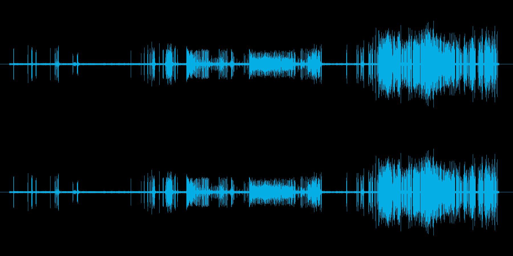 だんだんひどくなるノイズの再生済みの波形