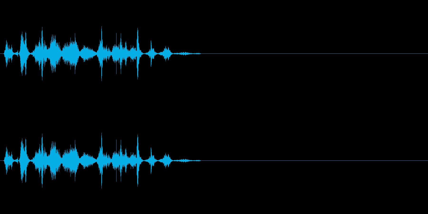 コミカルな小動物の鳴き声の再生済みの波形
