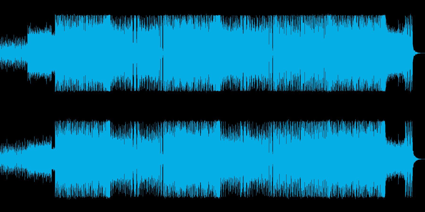 エレキギターが印象的なロックの再生済みの波形