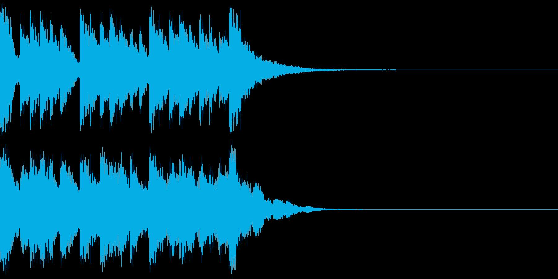 ピアノとベルの不揃いで愉快な印象のOPの再生済みの波形