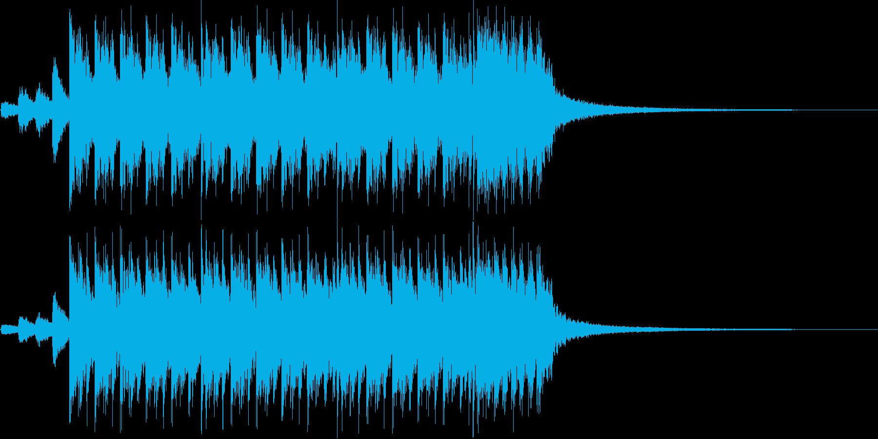 激しく疾走感のあるメタル風の曲の再生済みの波形