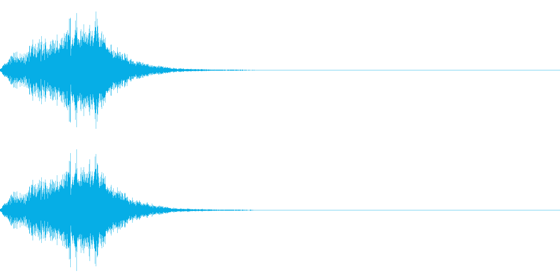 流れ星がオチてくるような音の再生済みの波形
