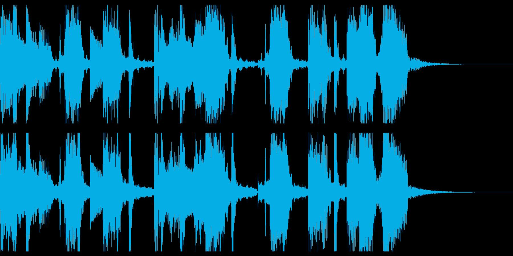 軽快なシンセとブレイクビーツのジングルの再生済みの波形