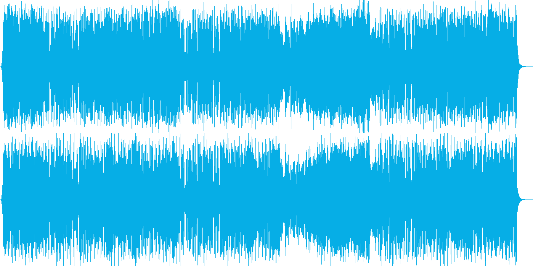 爽やかで疾走感のあるシンセサイザーの曲の再生済みの波形