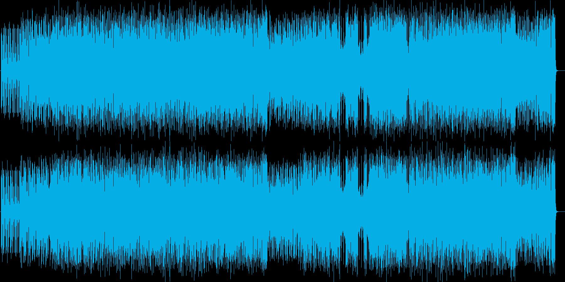 激しいギターシンセロックサウンドの再生済みの波形