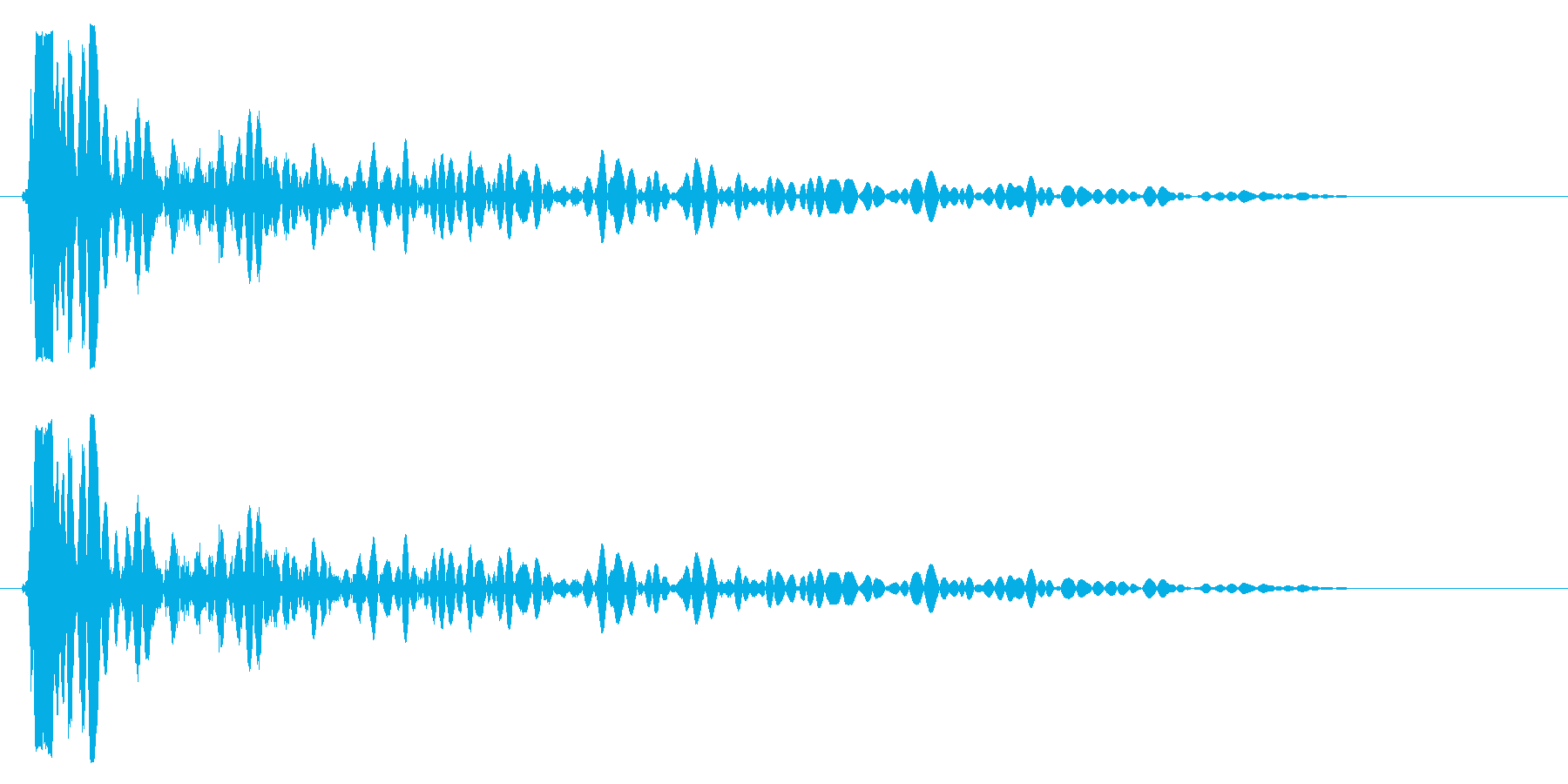 バン(高めのバスドラムの音)の再生済みの波形