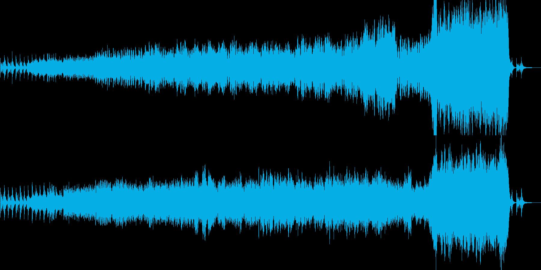 静かに始まり勇壮に盛り上がっていくBGMの再生済みの波形