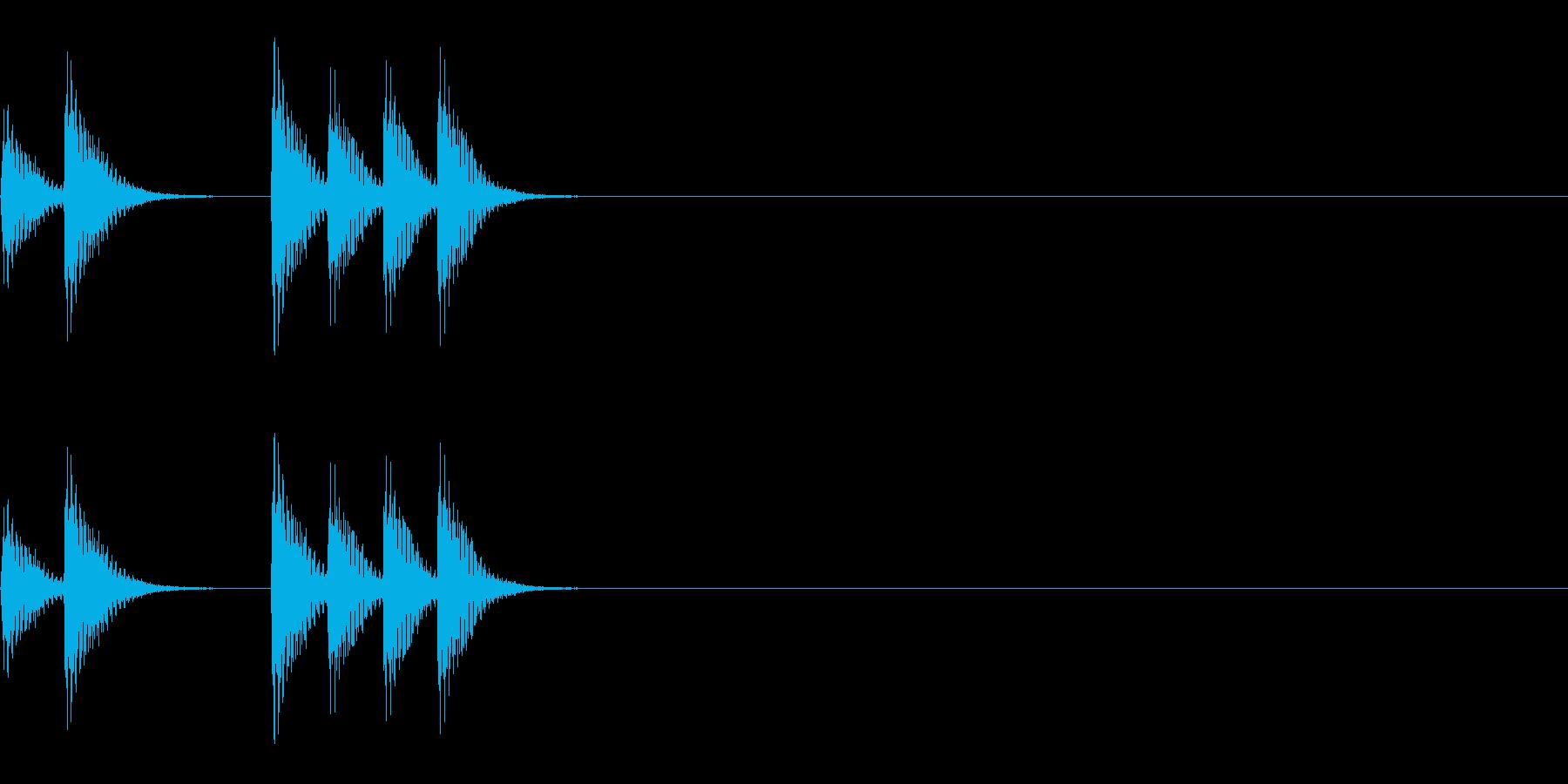 アニメ用~少し急かしているノック音~の再生済みの波形
