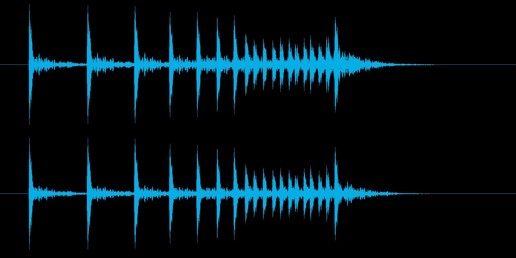 歌舞伎や能で奏でる鼓の音色の再生済みの波形